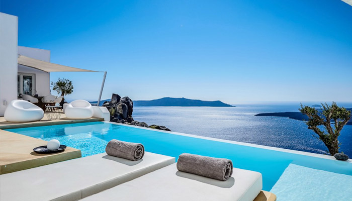 Rental Villa at Firostefani, Santorini. Luxury villas, Greek island villa, Villas for rent,  Holidays villas, Rental villas Greece.