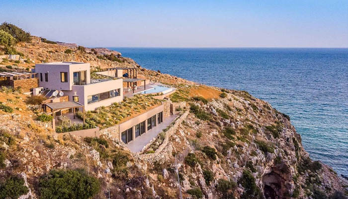 Luxury seafront villa at Chania. Luxury villas, Greek island villa, Villas for rent,  Holidays villas, Rental villas Greece.