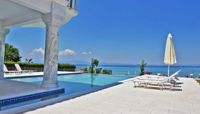 Beachfront Villa at Polychrono, Halkidiki. Luxury villas, Greek island villa, Villas for rent,  Holidays villas, Rental villas Greece.